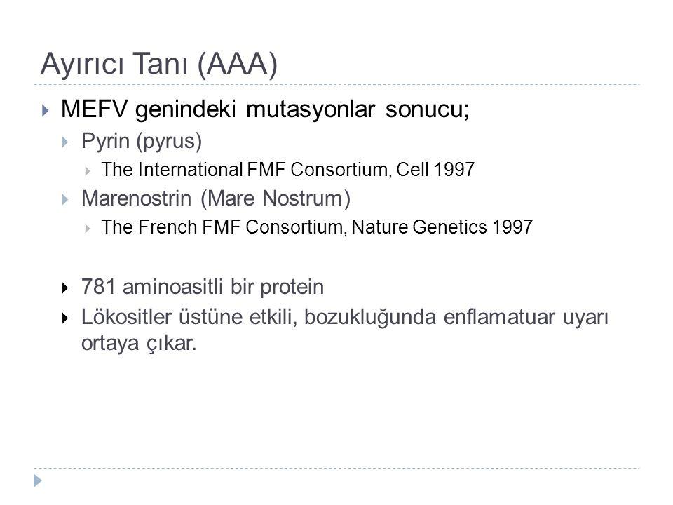 Ayırıcı Tanı (AAA) MEFV genindeki mutasyonlar sonucu; Pyrin (pyrus)