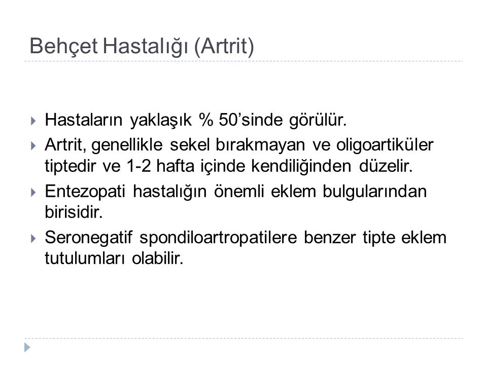 Behçet Hastalığı (Artrit)