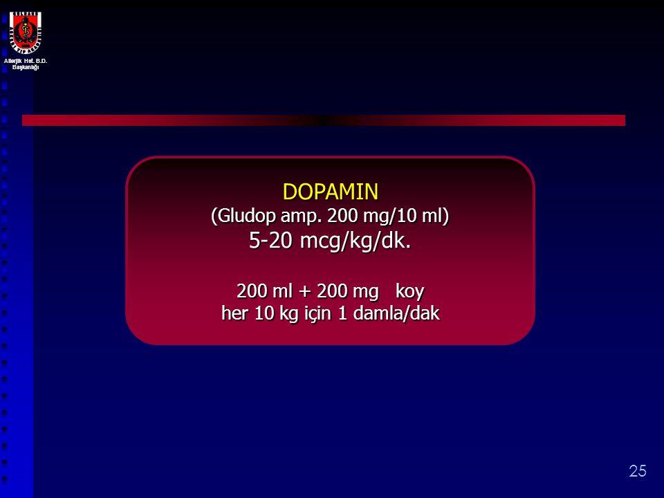 DOPAMIN 5-20 mcg/kg/dk. (Gludop amp. 200 mg/10 ml) 200 ml + 200 mg koy