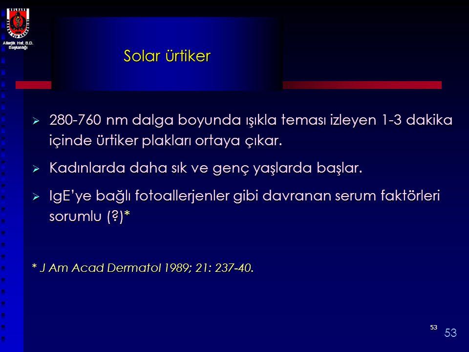 Solar ürtiker 280-760 nm dalga boyunda ışıkla teması izleyen 1-3 dakika içinde ürtiker plakları ortaya çıkar.