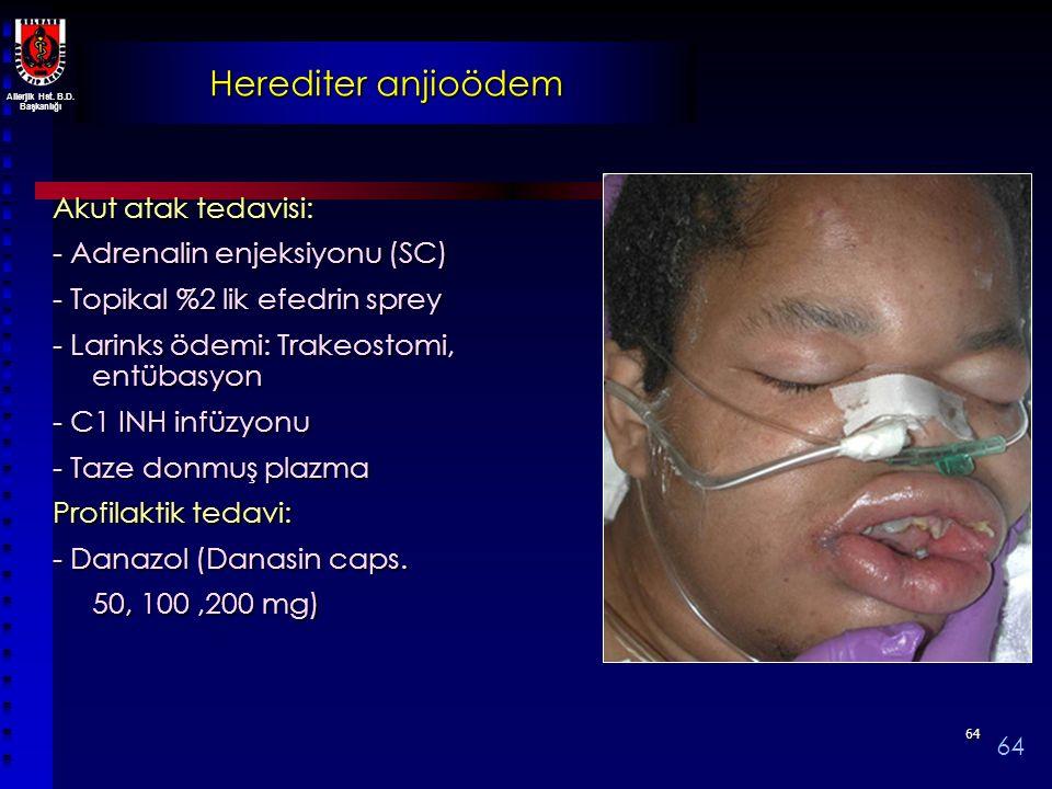 Herediter anjioödem Akut atak tedavisi: - Adrenalin enjeksiyonu (SC)