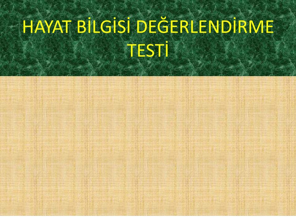 HAYAT BİLGİSİ DEĞERLENDİRME TESTİ