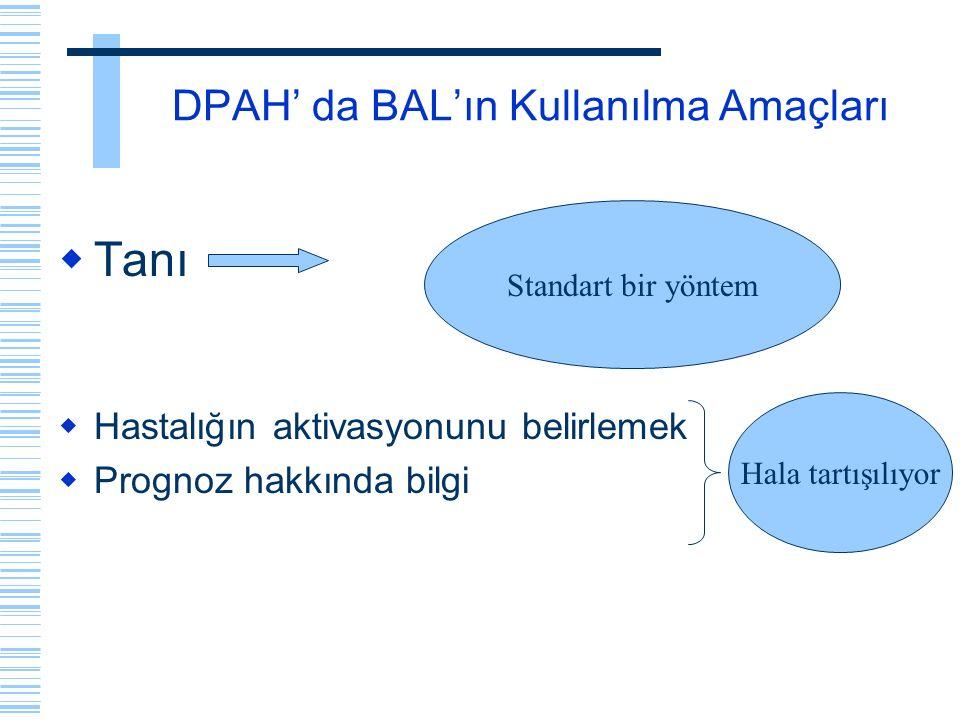 DPAH' da BAL'ın Kullanılma Amaçları