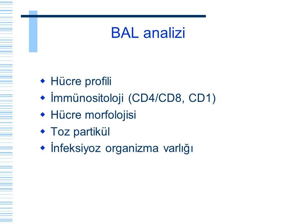 BAL analizi Hücre profili İmmünositoloji (CD4/CD8, CD1)