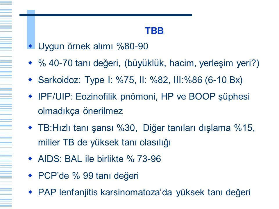 TBB Uygun örnek alımı %80-90. % 40-70 tanı değeri, (büyüklük, hacim, yerleşim yeri ) Sarkoidoz: Type I: %75, II: %82, III:%86 (6-10 Bx)