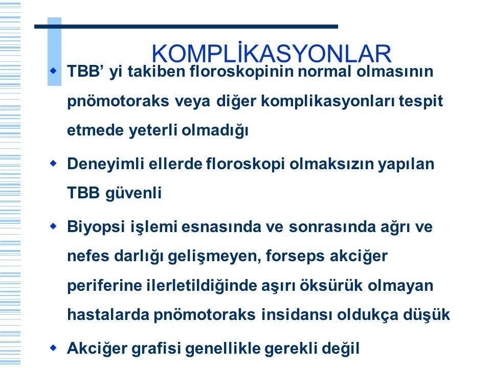 KOMPLİKASYONLAR TBB' yi takiben floroskopinin normal olmasının pnömotoraks veya diğer komplikasyonları tespit etmede yeterli olmadığı.