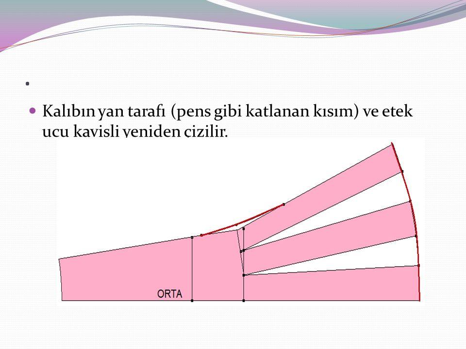 . Kalıbın yan tarafı (pens gibi katlanan kısım) ve etek ucu kavisli yeniden çizilir.