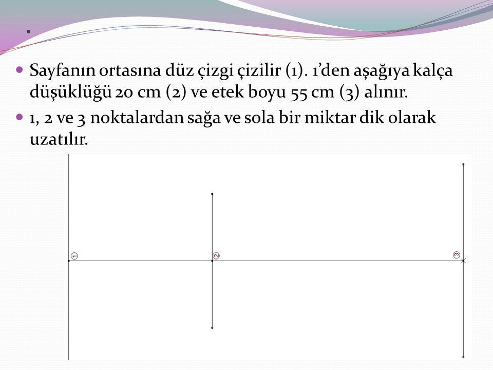 . Sayfanın ortasına düz çizgi çizilir (1). 1'den aşağıya kalça düşüklüğü 20 cm (2) ve etek boyu 55 cm (3) alınır.
