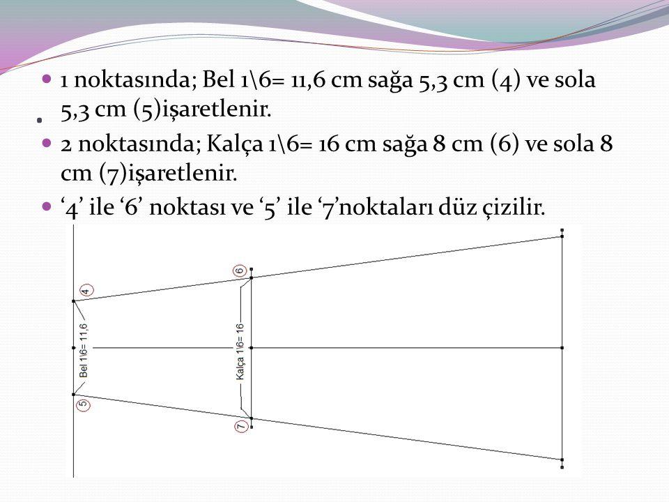 . 1 noktasında; Bel 1\6= 11,6 cm sağa 5,3 cm (4) ve sola 5,3 cm (5)işaretlenir.