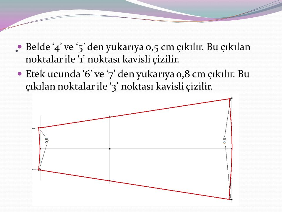 . Belde '4' ve '5' den yukarıya 0,5 cm çıkılır. Bu çıkılan noktalar ile '1' noktası kavisli çizilir.