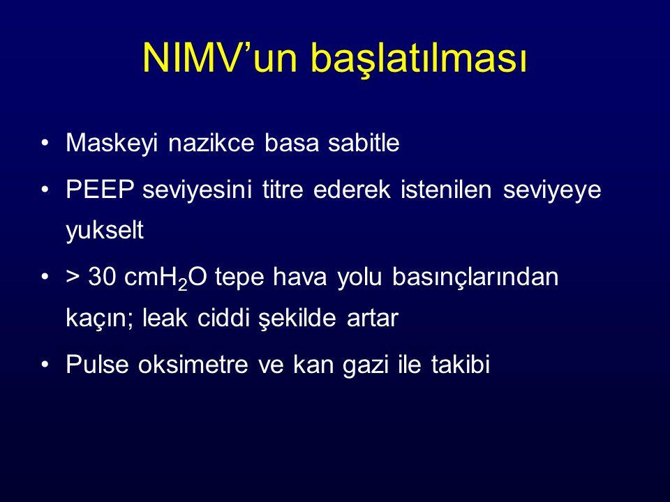 NIMV'un başlatılması Maskeyi nazikce basa sabitle