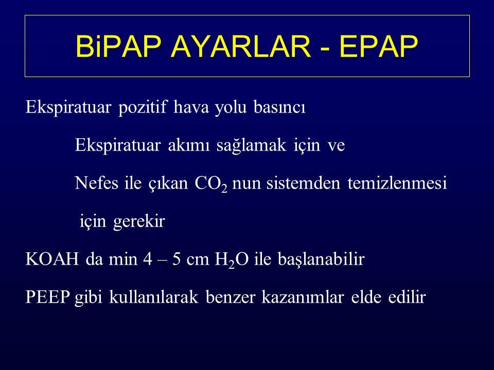 BiPAP AYARLAR - EPAP Ekspiratuar pozitif hava yolu basıncı