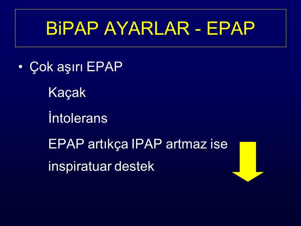 BiPAP AYARLAR - EPAP Çok aşırı EPAP Kaçak İntolerans