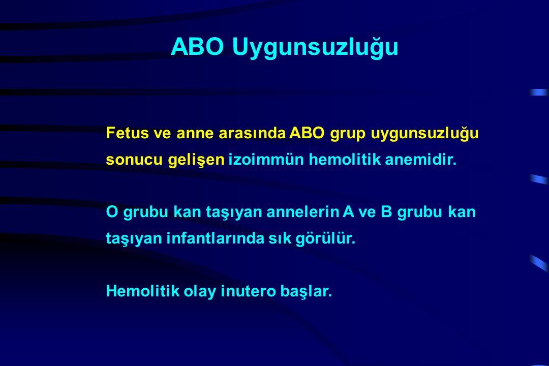 ABO Uygunsuzluğu Fetus ve anne arasında ABO grup uygunsuzluğu sonucu gelişen izoimmün hemolitik anemidir.