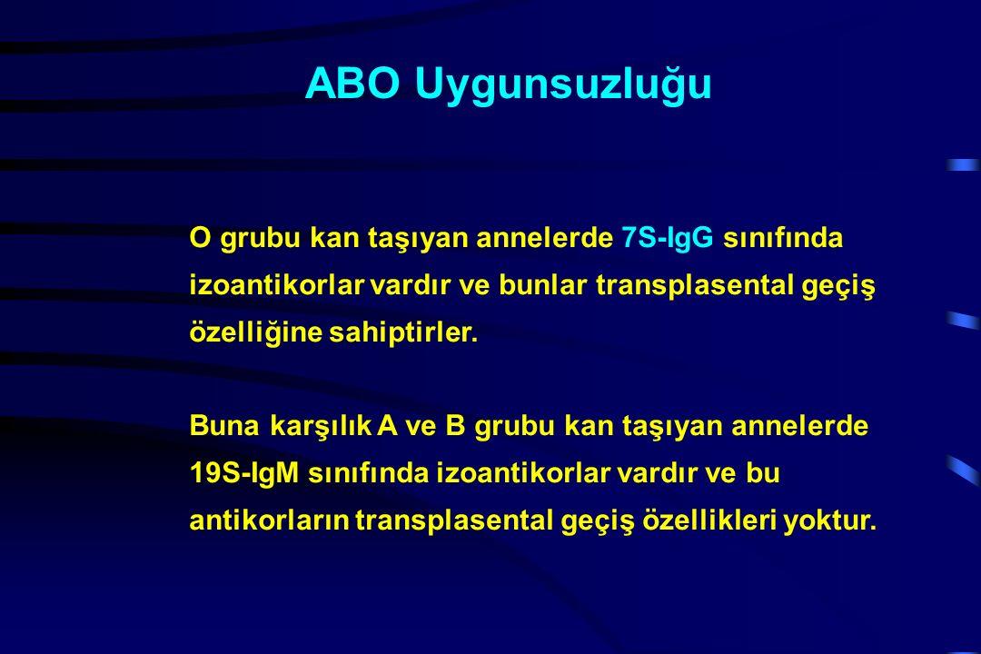 ABO Uygunsuzluğu O grubu kan taşıyan annelerde 7S-IgG sınıfında izoantikorlar vardır ve bunlar transplasental geçiş özelliğine sahiptirler.