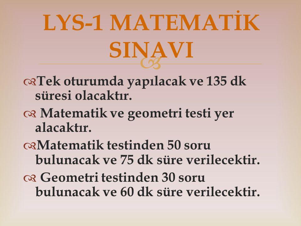 LYS-1 MATEMATİK SINAVI Tek oturumda yapılacak ve 135 dk süresi olacaktır. Matematik ve geometri testi yer alacaktır.