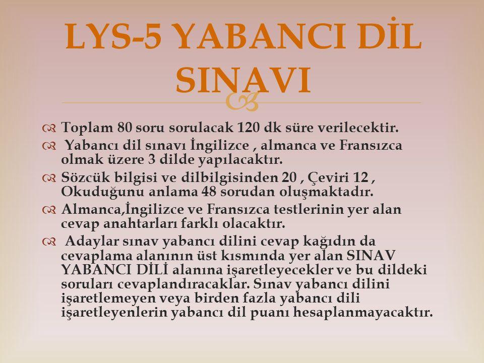 LYS-5 YABANCI DİL SINAVI