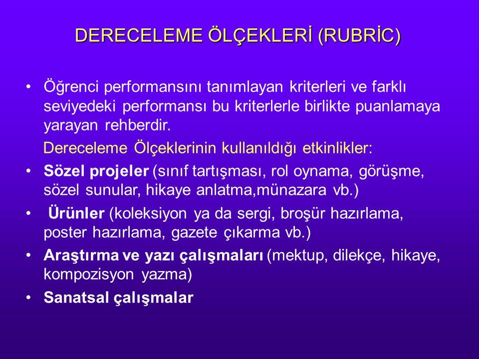 DERECELEME ÖLÇEKLERİ (RUBRİC)