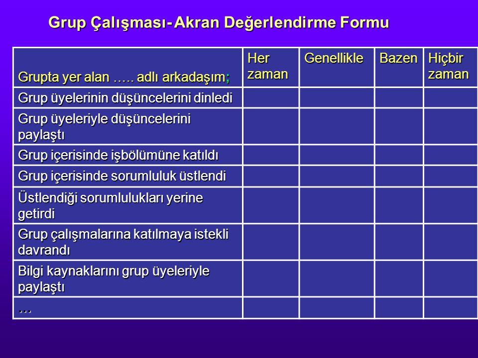 Grup Çalışması- Akran Değerlendirme Formu