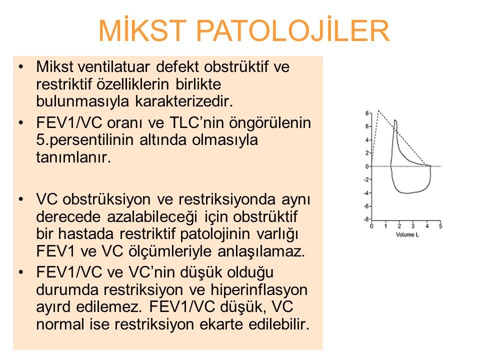 MİKST PATOLOJİLER Mikst ventilatuar defekt obstrüktif ve restriktif özelliklerin birlikte bulunmasıyla karakterizedir.