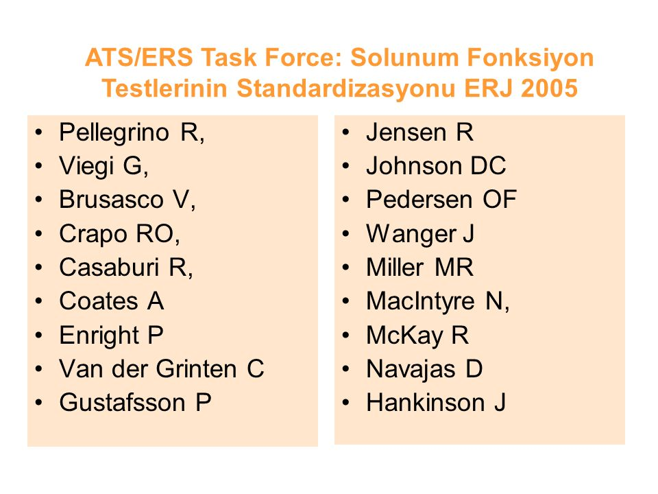 ATS/ERS Task Force: Solunum Fonksiyon Testlerinin Standardizasyonu ERJ 2005