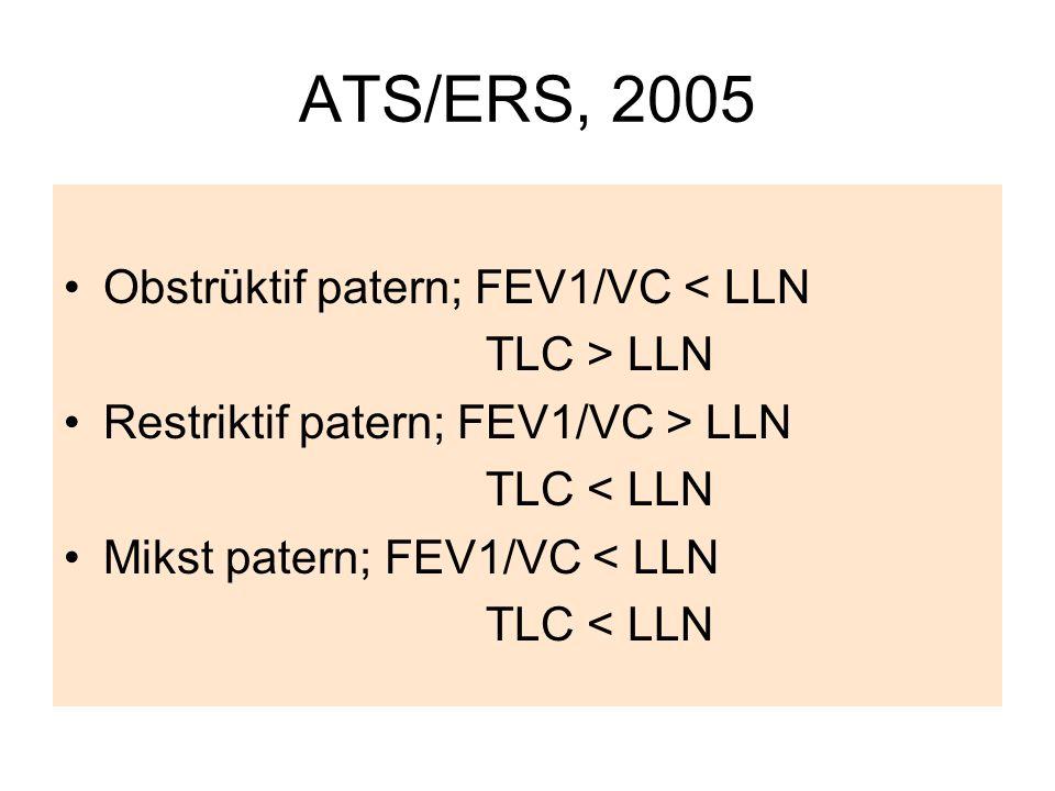 ATS/ERS, 2005 Obstrüktif patern; FEV1/VC < LLN TLC > LLN