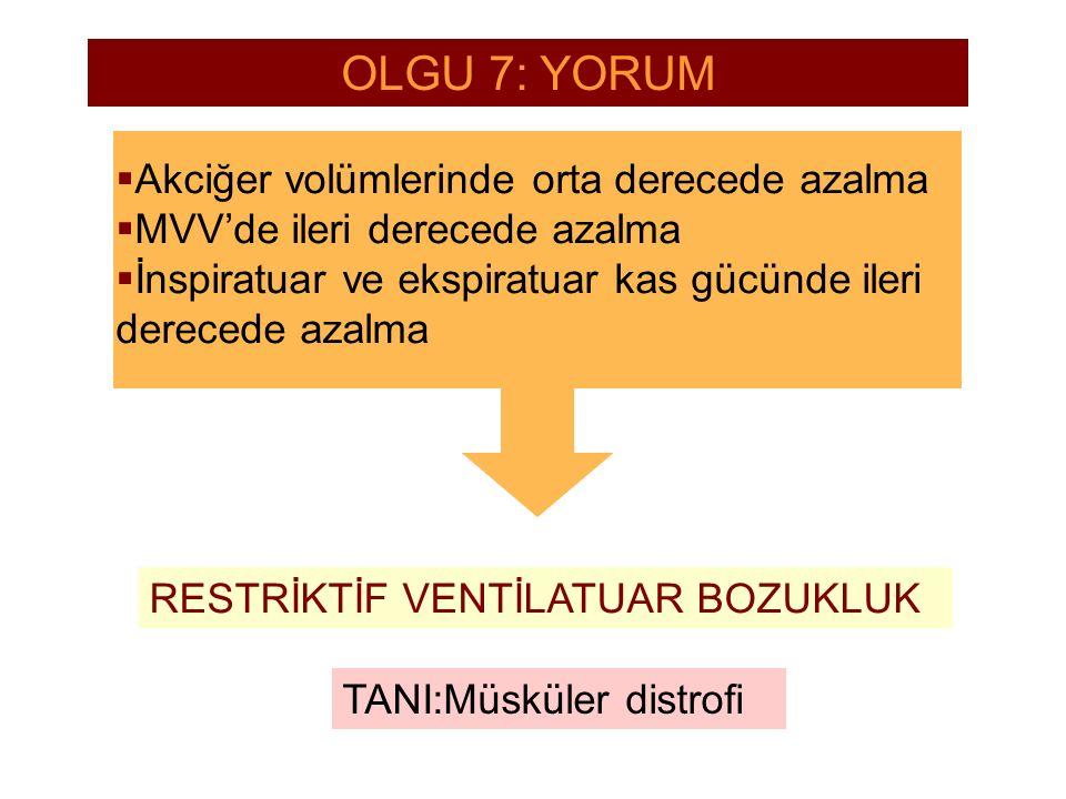 OLGU 7: YORUM Akciğer volümlerinde orta derecede azalma