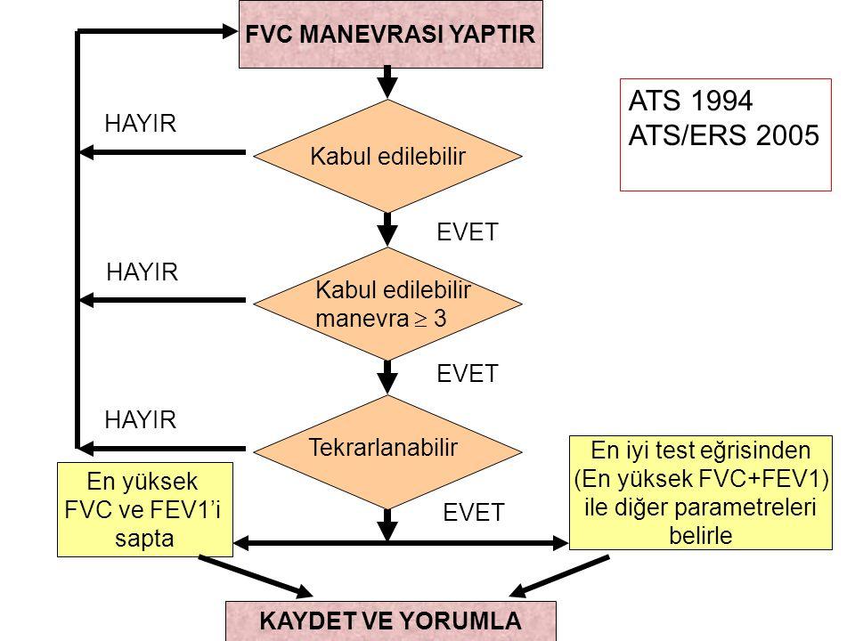 ATS 1994 ATS/ERS 2005 FVC MANEVRASI YAPTIR HAYIR Kabul edilebilir EVET