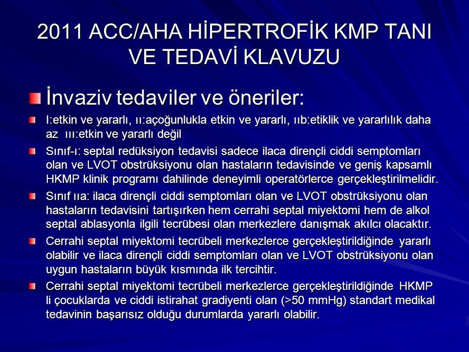 2011 ACC/AHA HİPERTROFİK KMP TANI VE TEDAVİ KLAVUZU