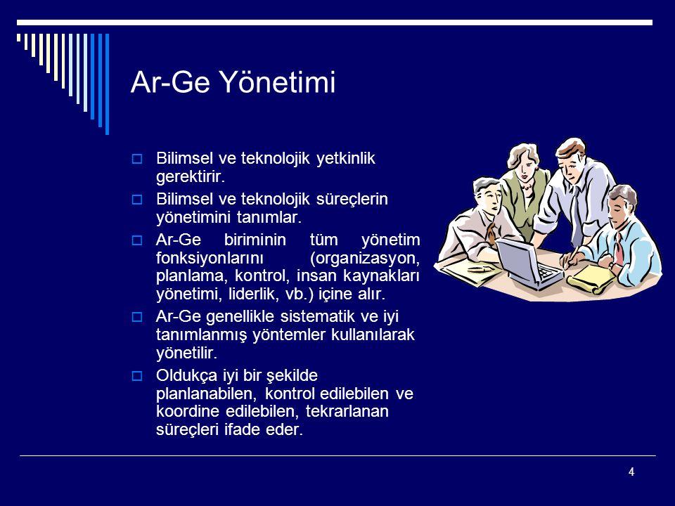 Ar-Ge Yönetimi Bilimsel ve teknolojik yetkinlik gerektirir.