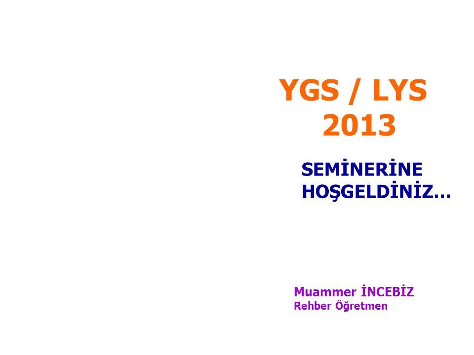 YGS / LYS 2013 SEMİNERİNE HOŞGELDİNİZ… Muammer İNCEBİZ Rehber Öğretmen
