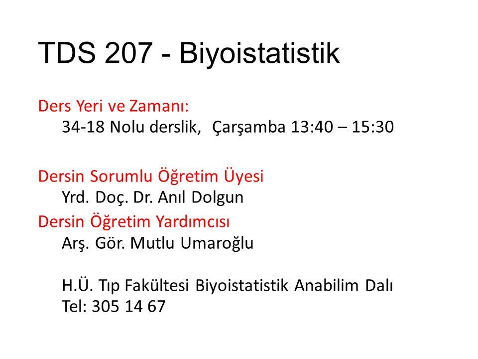 TDS 207 - Biyoistatistik