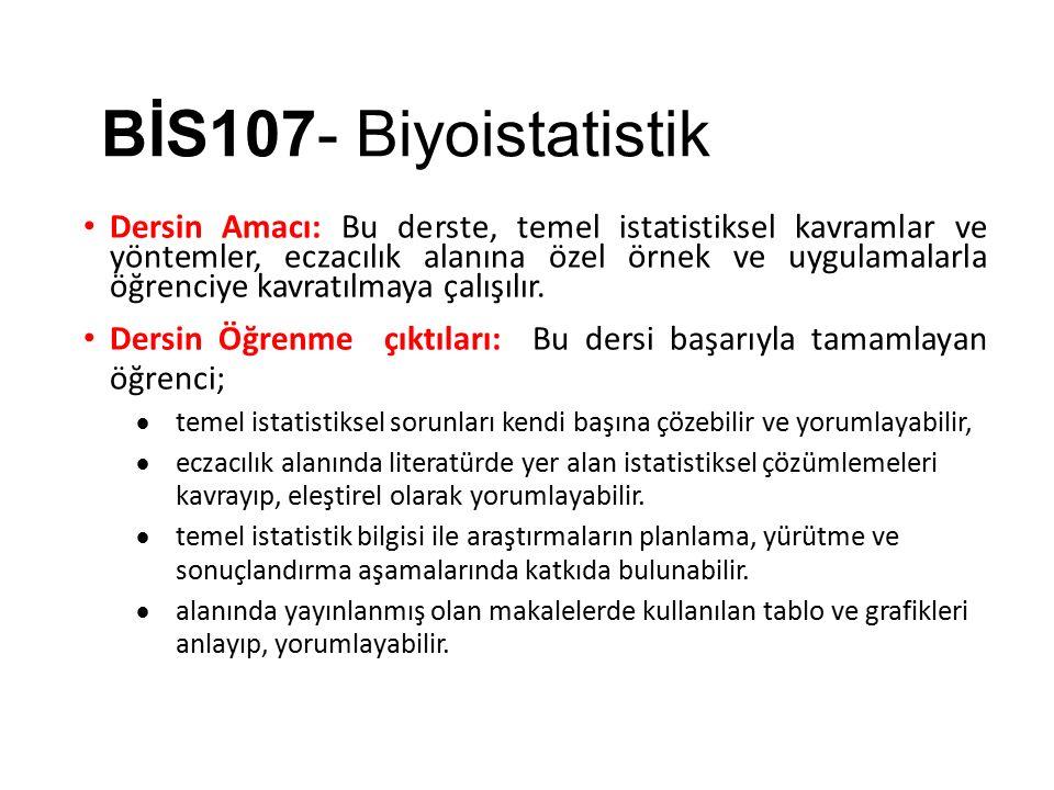 BİS107- Biyoistatistik