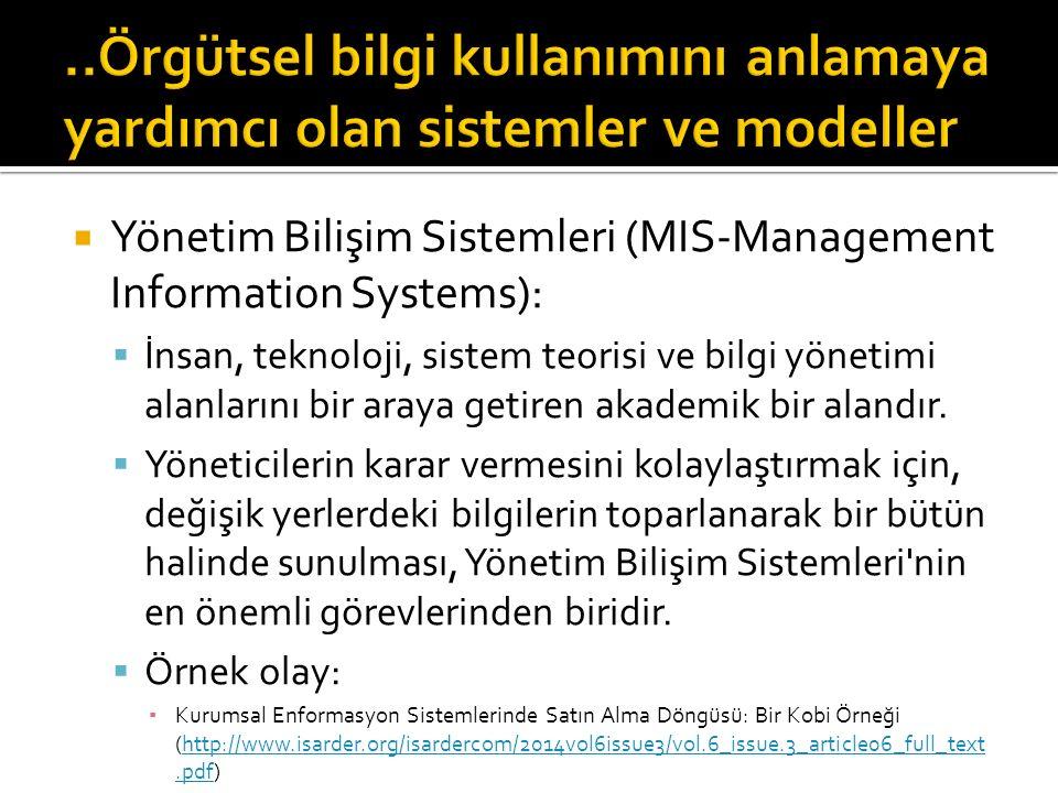 ..Örgütsel bilgi kullanımını anlamaya yardımcı olan sistemler ve modeller