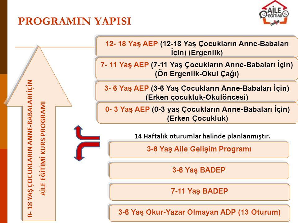 PROGRAMIN YAPISI 12- 18 Yaş AEP (12-18 Yaş Çocukların Anne-Babaları İçin) (Ergenlik) 0- 18 YAŞ ÇOCUKLARIN ANNE-BABALARI İÇİN.
