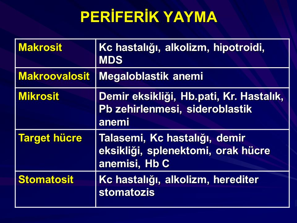 PERİFERİK YAYMA Makrosit Kc hastalığı, alkolizm, hipotroidi, MDS
