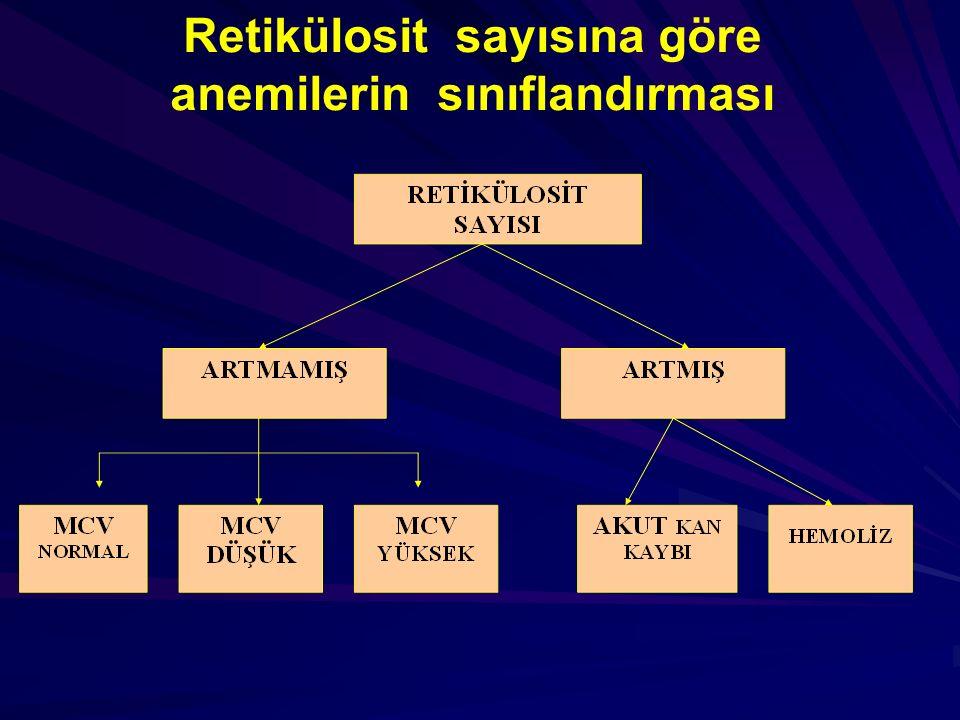 Retikülosit sayısına göre anemilerin sınıflandırması