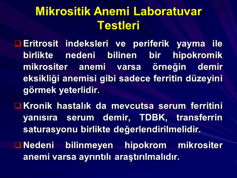 Mikrositik Anemi Laboratuvar Testleri