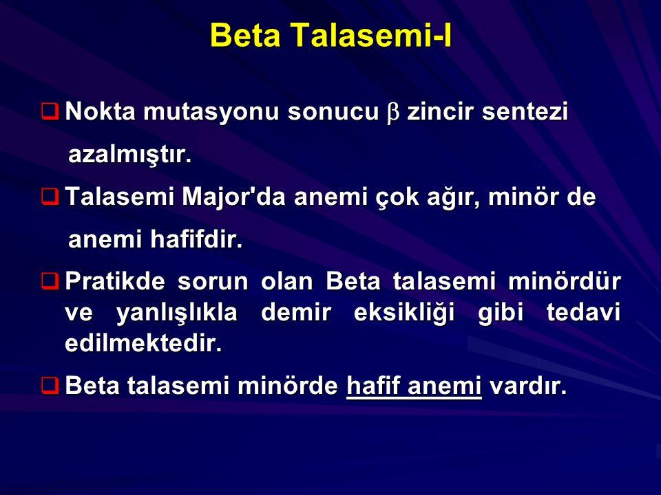 Beta Talasemi-I Nokta mutasyonu sonucu  zincir sentezi azalmıştır.