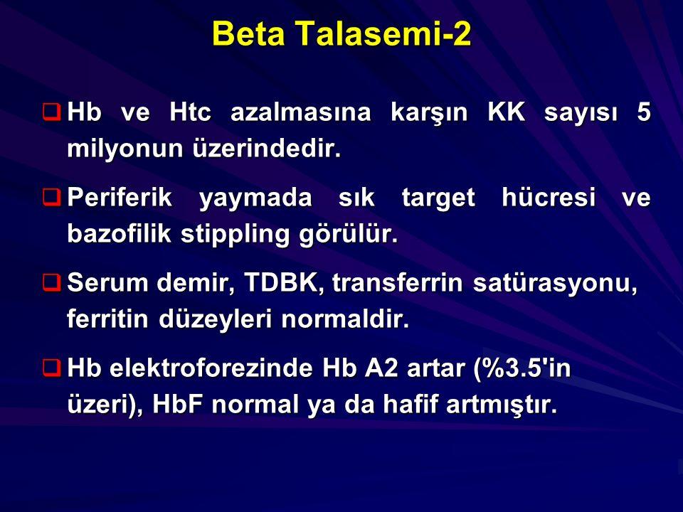 Beta Talasemi-2 Hb ve Htc azalmasına karşın KK sayısı 5 milyonun üzerindedir. Periferik yaymada sık target hücresi ve bazofilik stippling görülür.