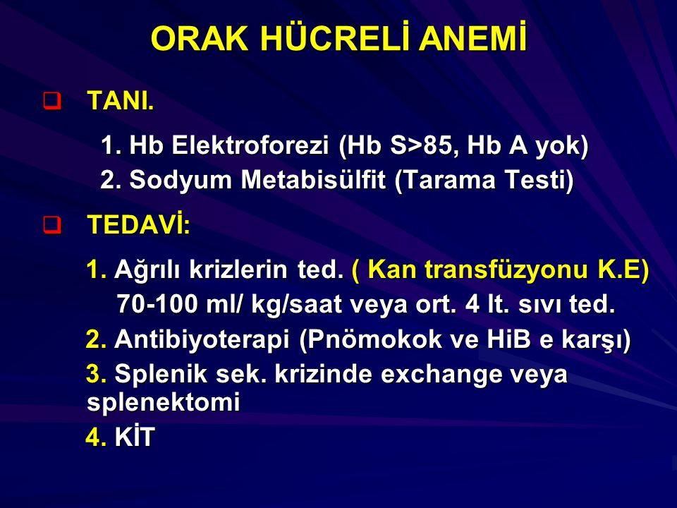 ORAK HÜCRELİ ANEMİ TANI. 1. Hb Elektroforezi (Hb S>85, Hb A yok)