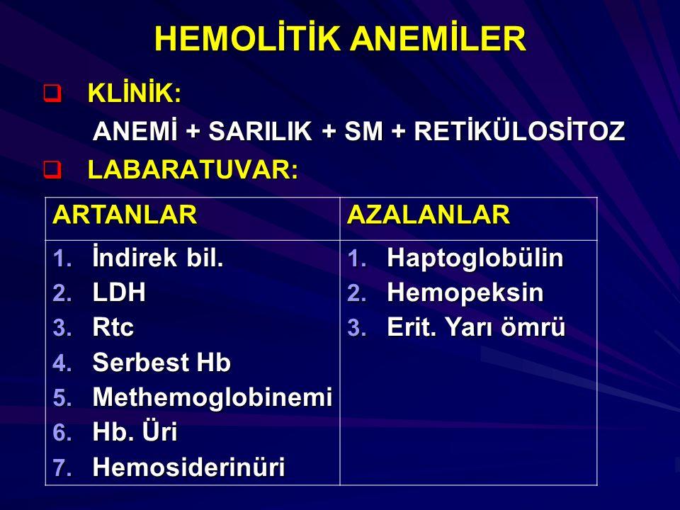 HEMOLİTİK ANEMİLER KLİNİK: ANEMİ + SARILIK + SM + RETİKÜLOSİTOZ