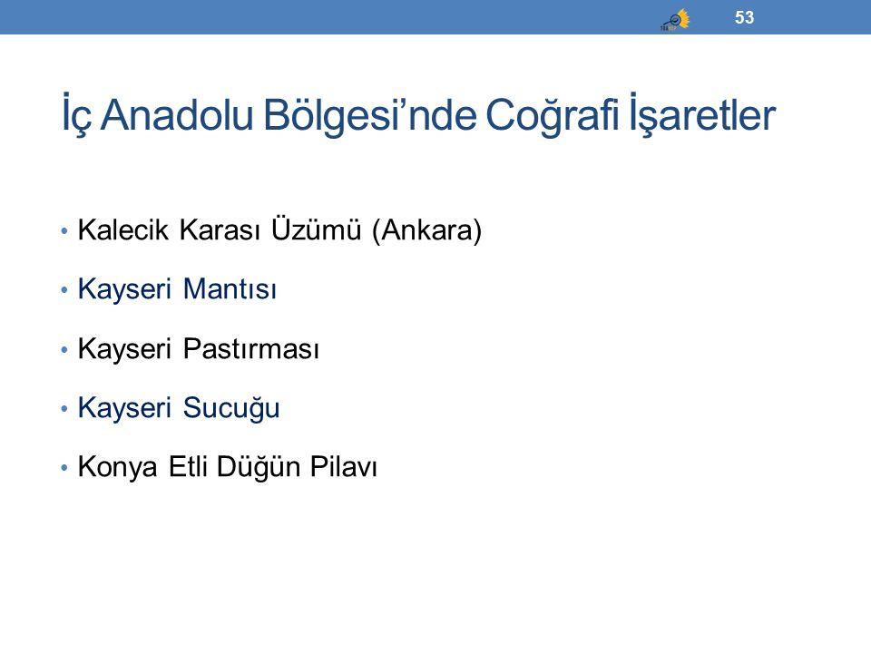 İç Anadolu Bölgesi'nde Coğrafi İşaretler