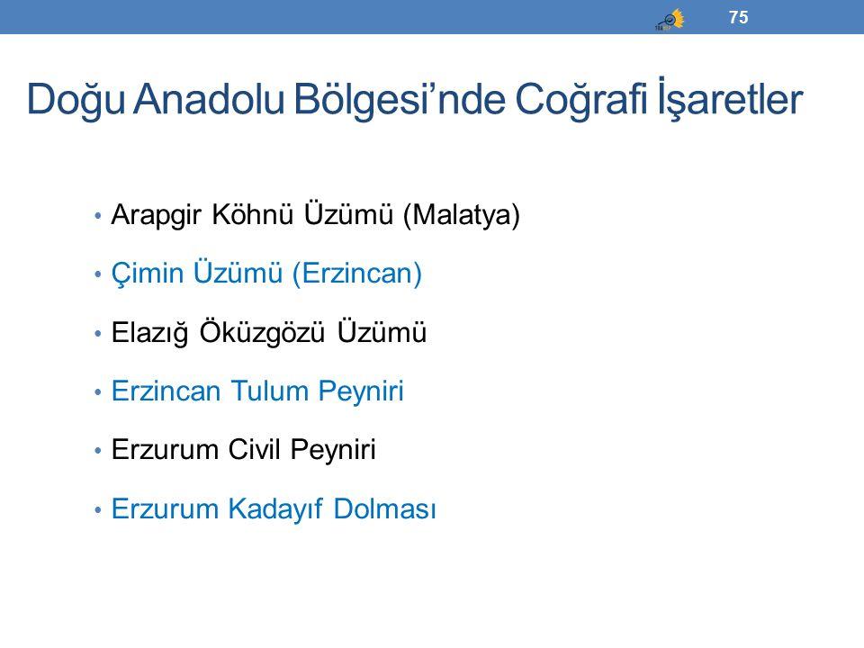 Doğu Anadolu Bölgesi'nde Coğrafi İşaretler