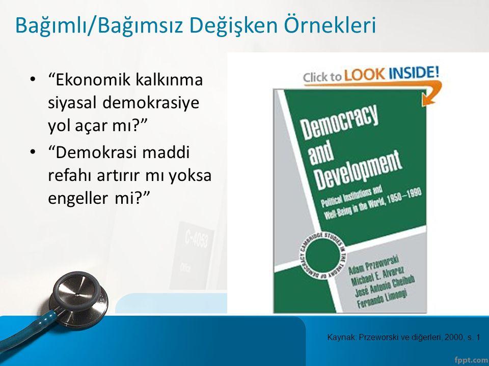 Bağımlı/Bağımsız Değişken Örnekleri