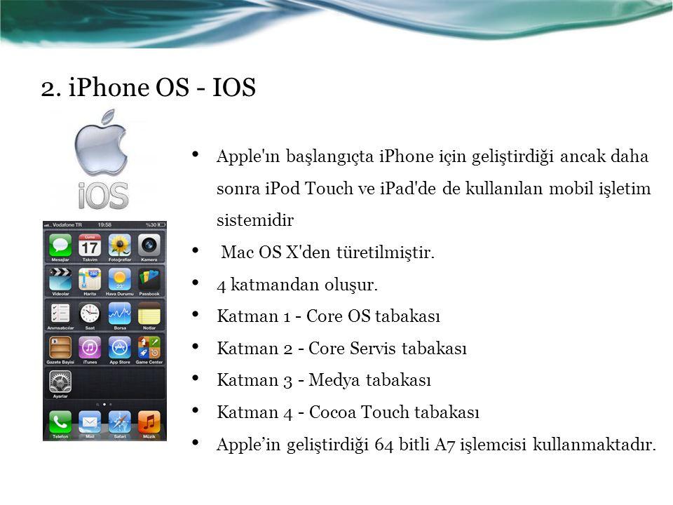2. iPhone OS - IOS Apple ın başlangıçta iPhone için geliştirdiği ancak daha sonra iPod Touch ve iPad de de kullanılan mobil işletim sistemidir.