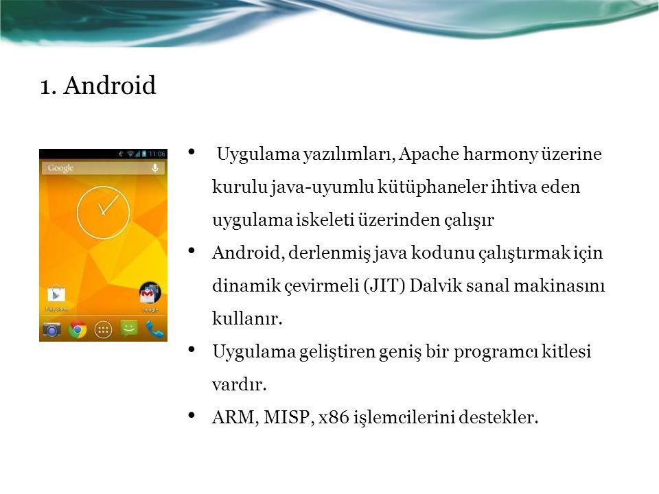 1. Android Uygulama yazılımları, Apache harmony üzerine kurulu java-uyumlu kütüphaneler ihtiva eden uygulama iskeleti üzerinden çalışır.