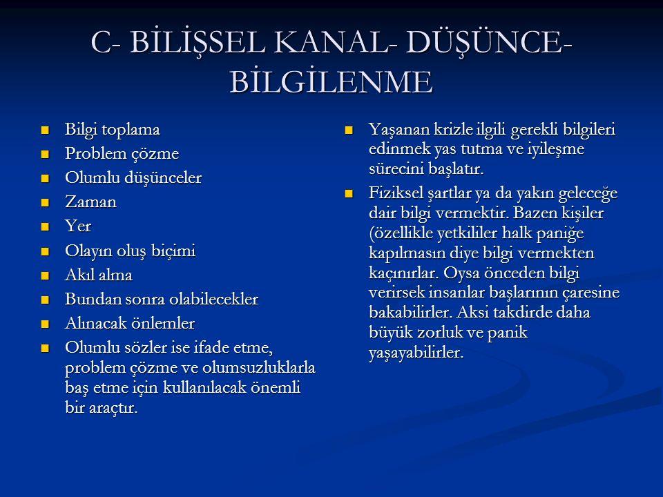 C- BİLİŞSEL KANAL- DÜŞÜNCE- BİLGİLENME