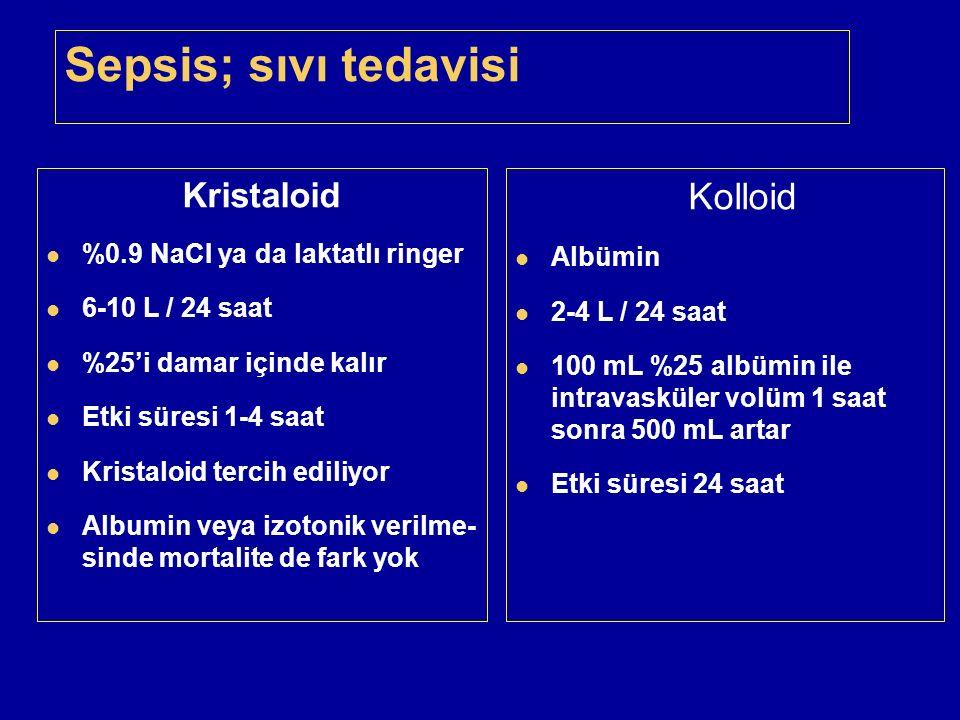 Sepsis; sıvı tedavisi Kristaloid Kolloid