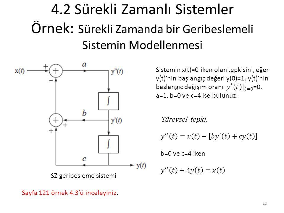 4.2 Sürekli Zamanlı Sistemler Örnek: Sürekli Zamanda bir Geribeslemeli Sistemin Modellenmesi